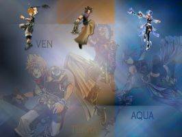 Kingdom hearts birth by sleep AQUA TERRA VEN by LumenArtist