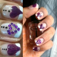 Purple Heart French Tip by FatimattiDesigns