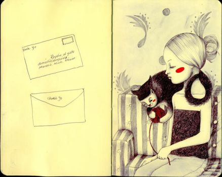 Girl with cat-journal11 by LadyOrlandoArt
