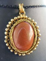 goldstone and brass fractal wrap by BacktoEarthCreations