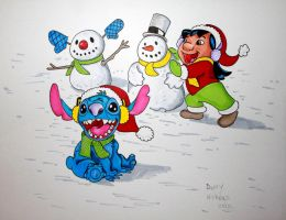 Winter Lilo and Stitch by DannyNicholas