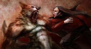 Vampire werewolf fight by mindsiphon