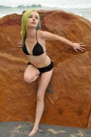 Kate - black bikini at rock 1 by wildplaces