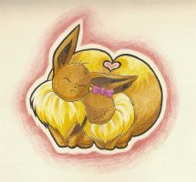 Eevee love by wallabby