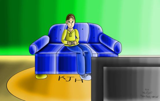Teen Playing Video Game by KJHArtStudios