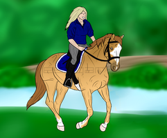 Riding in the forest by Esaqar