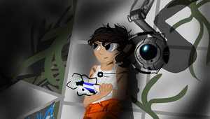 Chell and Wheatley by Roseyicywolf