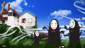 A Bunch of No Faces in a field by nazo-gema
