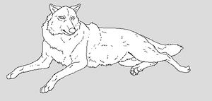 Resting Wolf Lineart by WhiteWolfCrisis13