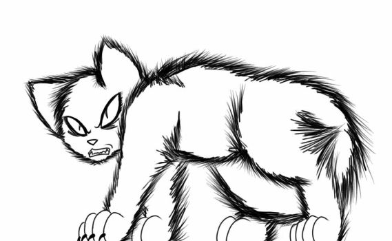 Angry cat lineart by RubyandEmber