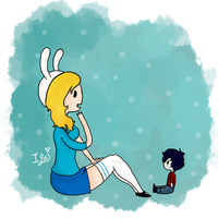 Fionna and a small Marshall Lee by izzylove33
