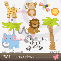 Cute Safari Jungle Animals by jdDoodles