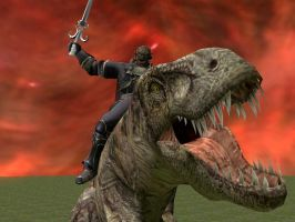Ganondorf on a T-Rex by Janus3003
