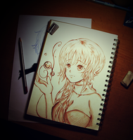 Anime Girl Sketching ~ by Ank124