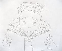 beast boy reading? by LittleAi