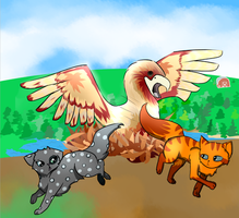 One Hawk and Two Warriors by Peppkitty