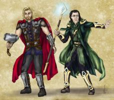 Dnd Avengers:  Thor and Loki by mcat711