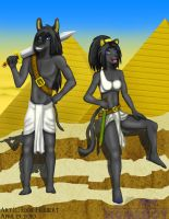 Anubis and Bast Illustration by SonicHomeboy
