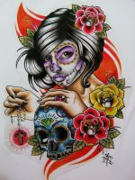 Day Of The Dead Girl Design by Frosttattoo