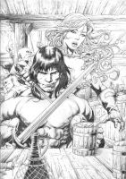 Red Sonja and Conan by miltonwiller