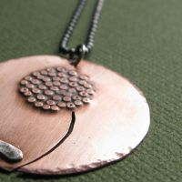 Dandelion, copper disc necklac by smabla