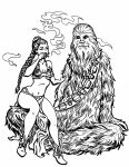 Leia and Chewy Lineart by crazy-fae