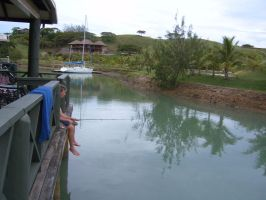 Fishing from Balcony - Fiji by phantomcameron