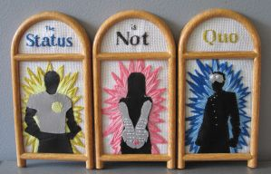 Dr. Horrible Embroidery Triptych by DelectablyDeviant