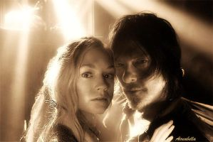 Daryl and Beth Caught By The Light (Sepia) by aireabella