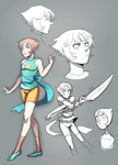 Steven Universe Pearl sketches by ShiroiAngelz