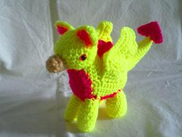 Neon Yellow and Pink Gryphon by hollyann