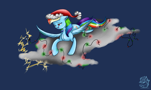 Rainbow's Christmas Cloud by Downpourpony