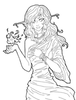 Elven Lady- outline by Giveortake