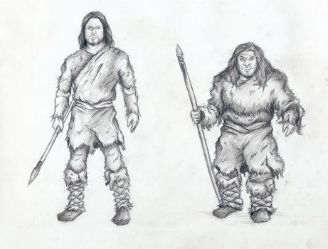 Cro-Magnon and Neanderthal by Mihin89