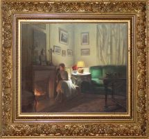 woman near the fireplace by AndriyMarkiv
