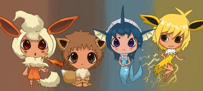 Eevee evolution stages.. chibi style!!~ by GummyInABox