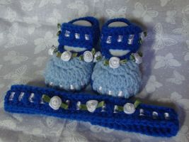 Blooming Booties-Blue by Crochet-by-Clarissa