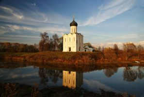 Landscape with the lonely church. October by Nickdan