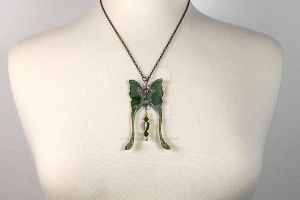Luna Moth Necklace by glittrrgrrl