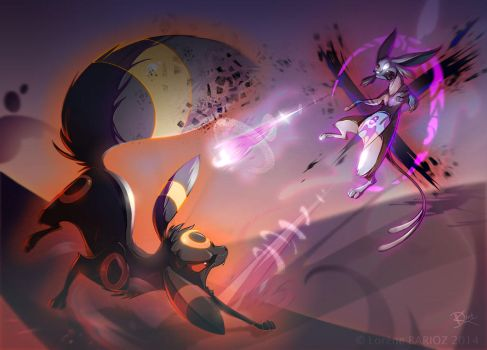Espeon vs Umbreon by Dragibuz