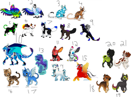 Free mixed animal adoptables! -closed- by icewolf66