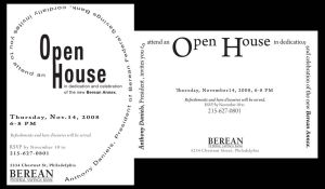 Berean Open House Invitation by contravere