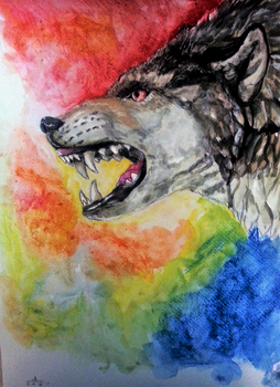 colorful wolf 2 by Eden-ArtFromTheHeart