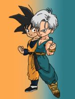 Goten and Trunk's failed fusion by frooooooo