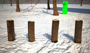 Wooden Posts and green rectangles by senor-freebie