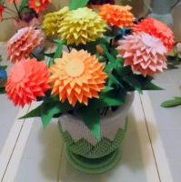 3d origami zinnias and urn by dfoosdc