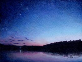 Night comes to the Lake by johnwickart