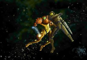 Samus vs. Master Chief by Burgstr