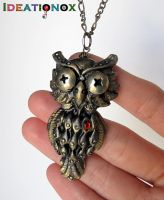 Steampunk Owl - polymer clay necklace by Ideationox
