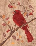 Cardinal - Marquetry by amazoncanvas